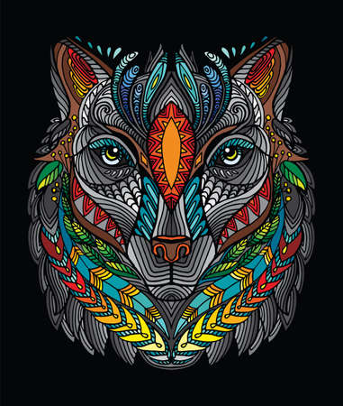 Vector decorative doodle ornamental head of wolf. Abstract vector colorful illustration of wolf head isolated on orange background. Stock illustration for print, design and tattoo. Çizim