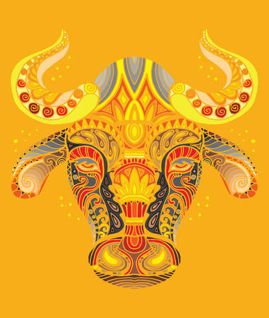 Vector decorative doodle ornamental head of  bull. Abstract vector colorful illustration of bull head isolated on orange background. Stock illustration for print, design and tattoo.  Vectores