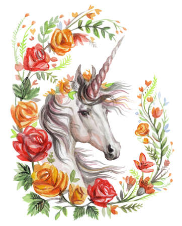 Magic unicorn looking in profile in rose floral frame boho, watercolor illustration isolated on white background for design, greeting cards, paper. Stock illustration.