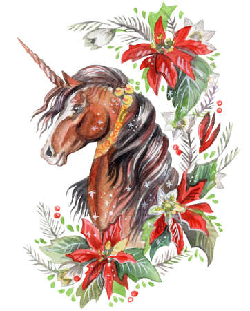 Christmass bay unicorn looking in profile in floral frame boho, watercolor illustration isolated on white background for design, greeting cards, paper. Stock illustration.