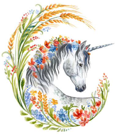 Gray Unicorn looking in profile in wheat floral frame, watercolor illustration isolated on white background for design, greeting cards, paper. Stock illustration.