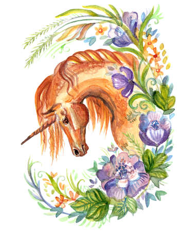 Chestnut Unicorn looking in profile in floral frame, watercolor illustration isolated on white background for design, greeting cards, paper. Stock illustration.  Stock fotó