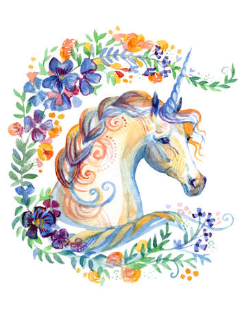 Unicorn looking in profile in spring floral frame, watercolor illustration isolated on white background for design, greeting cards, paper. Stock illustration.