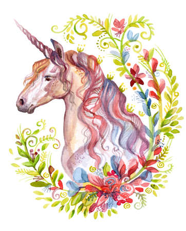 Magic unicorn looking in profile in spring floral frame, watercolor illustration isolated on white background for design, greeting cards, paper. Stock illustration.