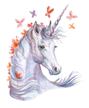 Magic unicorn looking in profile, watercolor illustration isolated on white background for greeting cards, print. Stock illustration