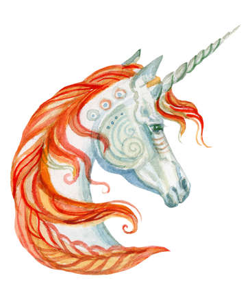 Magic unicorn with orange mane looking in profile, watercolor illustration isolated on white background for greeting cards, print and design. Stock illustration