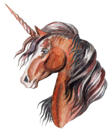 Magic bay unicorn looking in profile, watercolor illustration isolated on white background for greeting cards, print. Stock illustration