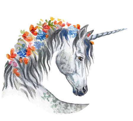 Magic boho unicorn with flowers in mane looking in profile, watercolor illustration isolated on white background for greeting cards, print, design. Stock illustration