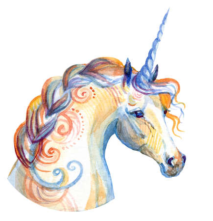 Decorative unicorn with ornament looking in profile, watercolor illustration isolated on white background for greeting cards, print, design. Stock illustration