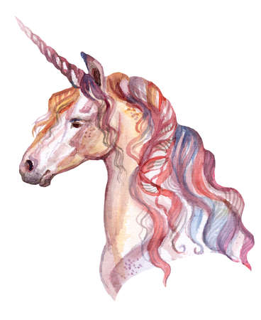 Magic pink unicorn looking in profile, watercolor illustration isolated on white background for greeting cards, print. Stock illustration