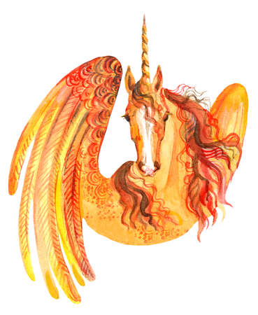 Decorative orange unicorn with wings, watercolor illustration isolated on white background for greeting cards, print, design. Stock illustration