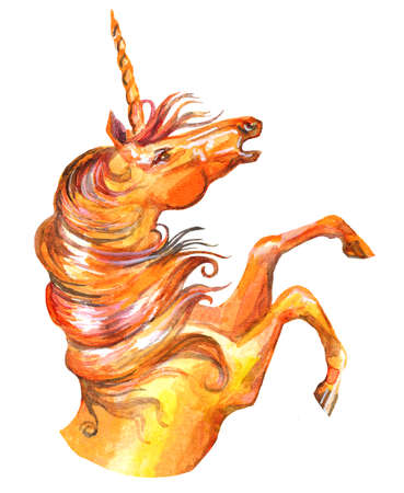 Decorative orange unicorn, watercolor illustration isolated on white background for greeting cards, print, design. Stock illustration Stock fotó