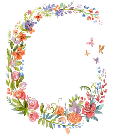 Floral wreaths in watercolor. Colorful flowers and other plants in vintage style isolated on white background. Ideal for print, design, scrapbooking. Stock illustration Фото со стока