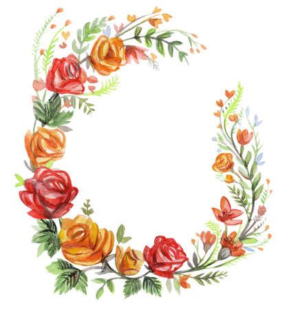 Floral frame wreaths in watercolor. Rose floral vector design frame. Trendy wedding flowers rustic cards. Ideal for print, design, scrapbooking. Stock illustration