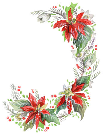 Christmass floral frame wreaths in watercolor. Rose floral vector design frame. Trendy wedding flowers rustic cards. Ideal for print, design, scrapbooking. Stock illustration