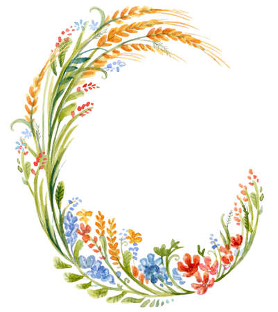 Floral frame wreaths in watercolor.Wheat, grass floral vector design frame. Trendy wedding flowers rustic cards. Ideal for print, design, scrapbooking. Stock illustration