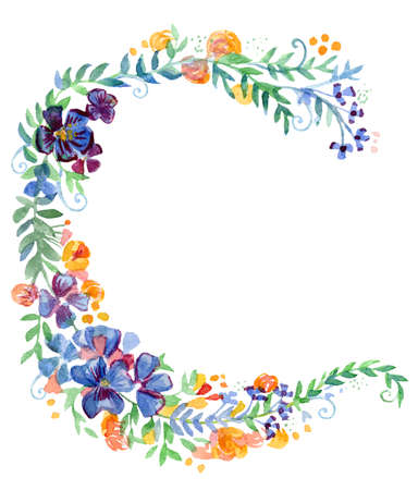 Floral wreaths in watercolor. Colorful flowers and other plants isolated on white background. Ideal for print, design, scrapbooking. Stock illustration