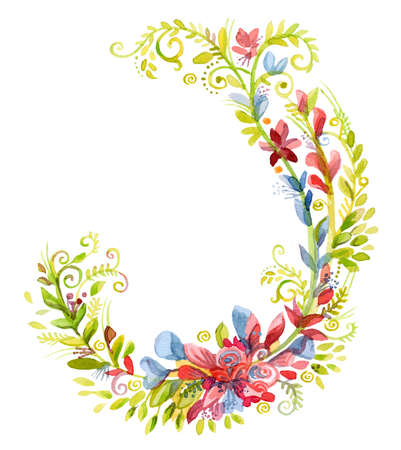 Floral frame wreaths in watercolor.Wheat, grass floral vector design frame. Trendy flowers rustic cards. Ideal for print, design, scrapbooking. Stock illustration Фото со стока