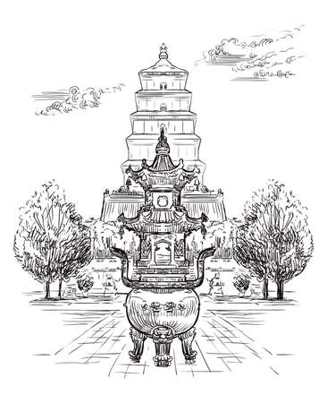 Big Wild Goose Pagoda, Buddhist pagoda in southern Xi'an, Shaanxi province, landmark of China. Hand drawn vector sketch illustration in black color isolated on white background. China travel Concept. Иллюстрация