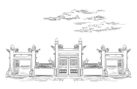 Lingxing Gates in front of the Temple of Heaven in Beijing, landmark of China. Hand drawn vector sketch illustration in black color isolated on white background. China travel Concept. Stock illustration