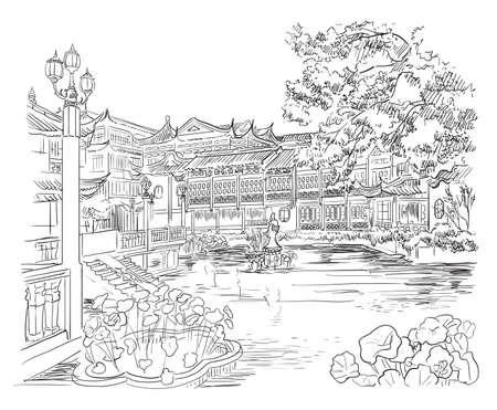 Yuyuan Garden (Garden of Happiness), Old City of Shanghai, landmark of China. Hand drawn vector sketch illustration in black color isolated on white background. China travel Concept.