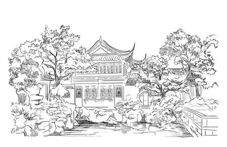 Garden Of Contentment in Shanghai province, landmark of China. Hand drawn vector sketch illustration in black color isolated on white background. China travel Concept.