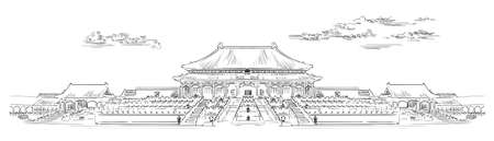 Palace complex in Forbidden city in central Beijing, landmark of China. Hand drawn vector sketch illustration in black color isolated on white background. China travel Concept. Stock illustration Иллюстрация