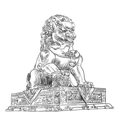 Big bronze lion in forbidden city in Beijing , landmark of China. Hand drawn vector sketch illustration in black color isolated on white background. China travel Concept. Stock illustration