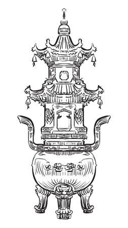 Big bronze incense burner in the Giant Wild Goose Pagoda in Xi'an, Shaanxi province, landmark of China. Hand drawn vector sketch illustration in black color isolated on white background. China travel Concept.