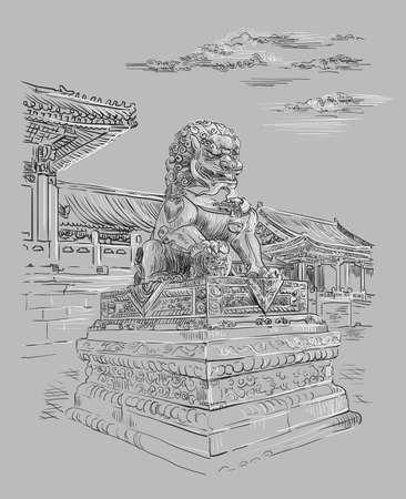 Big bronze lion in forbidden city in Beijing, landmark of China. Monochrome hand drawn vector sketch illustration isolated on gray background. China travel Concept. Stock illustration Ilustração