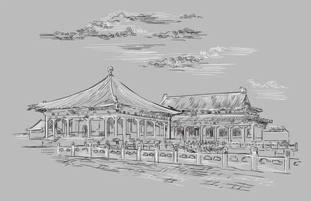 Forbidden city in Beijing, landmark of China. Hand drawn vector sketch illustration in monochrome colors isolated on gray background. China travel Concept. Stock illustration