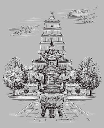 Big Wild Goose Pagoda in southern Xi'an, Shaanxi province, landmark of China. Hand drawn vector sketch illustration in monochrome colors isolated on gray background. China travel Concept. Иллюстрация