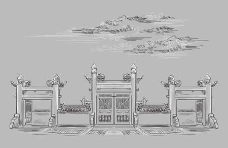 Lingxing Gates in front of the Temple of Heaven in Beijing, landmark of China. Hand drawn vector sketch illustration in monochrome colors isolated on gray background. China travel Concept. Ilustração