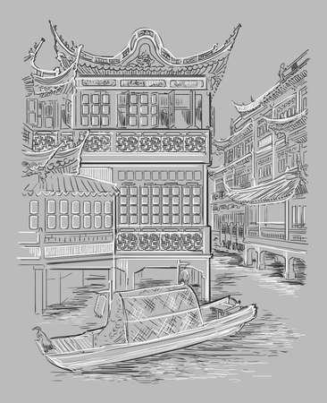 Yuyuan Garden (Garden of Happiness), Old City of Shanghai, landmark of China. Hand drawn vector sketch illustration isolated on gray background. China travel Concept.  Ilustração