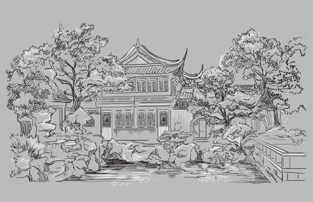 Garden Of Contentment in Shanghai province, landmark of China. Hand drawn vector sketch illustration in monochrome colors isolated on gray background. China travel Concept.