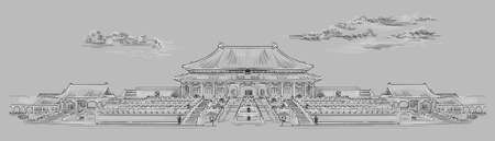 Palace complex in Forbidden city in central Beijing, landmark of China. Hand drawn vector sketch illustration in monochrome colors isolated on gray background. China travel Concept. Stock illustration