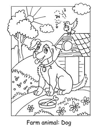 Vector coloring pages with cute dog listening a song of a bird. Cartoon contour illustration isolated on white background. Stock illustration for coloring book, preschool education, print and game. Stock Illustratie
