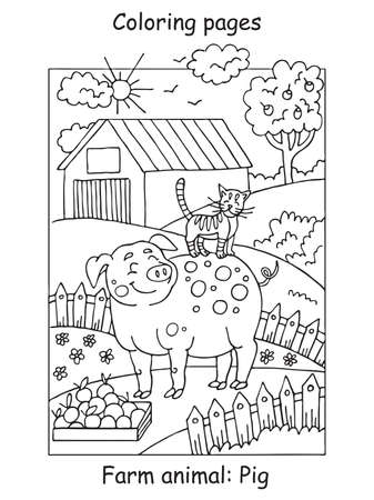 Vector coloring pages with smiling pig and cat on the farm meadow. Cartoon contour illustration isolated on white background. Stock illustration for coloring book, preschool education, print and game.