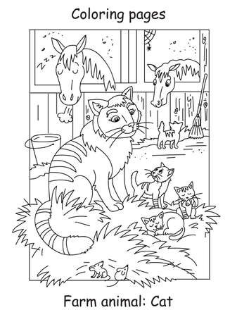 Vector coloring pages with cute cat and little kittens on the farm. Cartoon contour illustration isolated on white background. Stock illustration for coloring book, preschool education, print and game.
