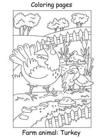 Vector coloring pages with funny angry turkey walking on the farm. Cartoon contour illustration isolated on white background. Stock illustration for coloring book, preschool education, print and game.
