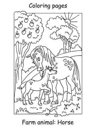 Vector coloring pages with cute horse and her foal standing in apple garden. Cartoon contour illustration isolated on white background. Stock illustration for coloring book and preschool education. 向量圖像
