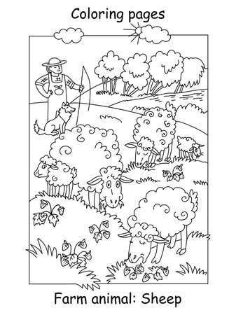 Vector coloring pages with cute sheeps gracing on meadow and shepherd with his dog. Cartoon contour illustration isolated on white background. Stock illustration for coloring book, preschool education, print and game. Ilustracja