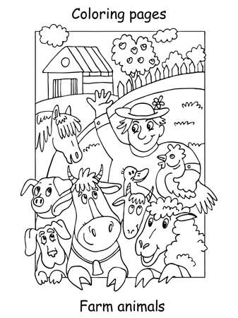 Vector coloring pages with happy farmer and his farm animals. Cartoon contour illustration isolated on white background. Stock illustration for coloring book, preschool education, print and game.
