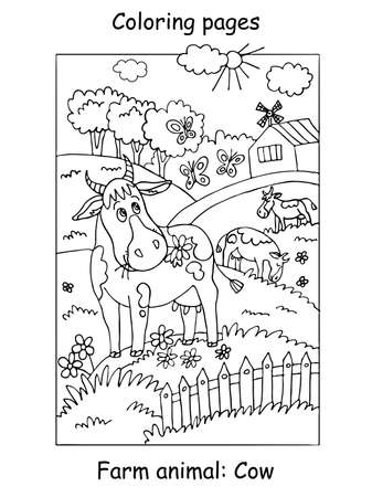Vector coloring pages with cute cow gracing on the farm meadow. Cartoon contour illustration isolated on white background. Stock illustration for coloring book, preschool education, print and game.