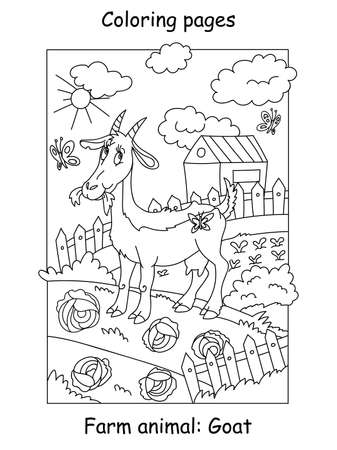 Vector coloring pages with funny goat chewing a cabage on the farm. Cartoon contour illustration isolated on white background. Stock illustration for coloring book, preschool education, print and game.  イラスト・ベクター素材