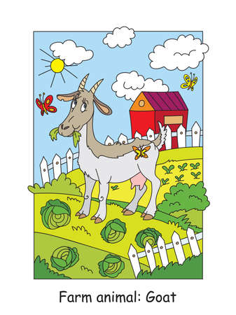 Coloring pages with funny goat chewing a cabbage on the farm. Cartoon vector illustration. Stock illustration for design, preschool education, print and game. Zdjęcie Seryjne - 151164501