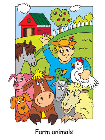 Coloring pages with happy farmer and his farm animals. Cartoon vector illustration. Stock illustration for design, preschool education, print and game.