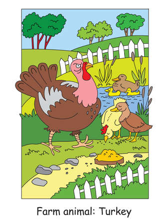 Coloring pages with funny angry turkey walking on the farm. Cartoon vector illustration. Stock illustration for design, preschool education, print and game.