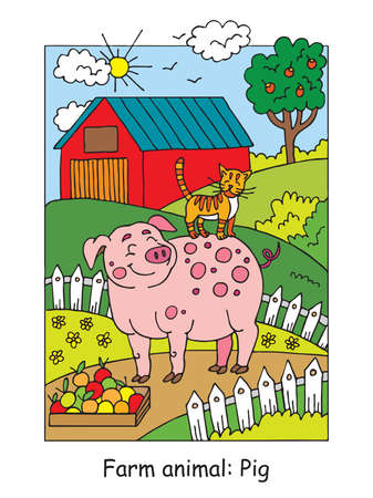 Coloring pages with cute smiling pig and cat on the farm meadow. Cartoon vector illustration. Stock illustration for design, preschool education, print and game.