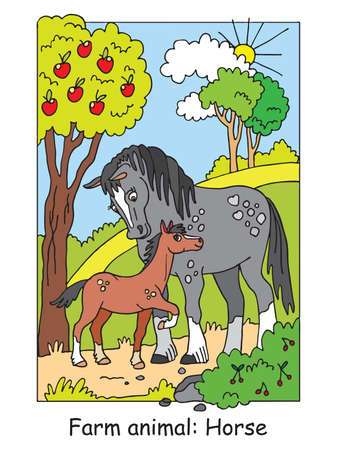 Coloring pages with cute horse and her foal standing in apple garden. Cartoon vector illustration. Stock illustration for design, preschool education, print and game.